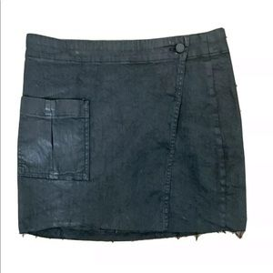 Allsaints Asymetrical Skirt Coated Black US 6 Mini
